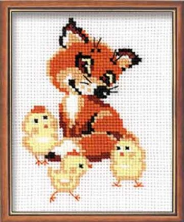 'FOX CUB WITH CHICKS' Cross Stitch Kit from Riolis.